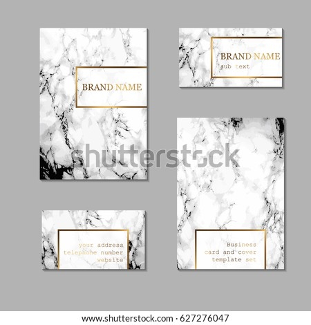 Business card and cover template set. Elegant and abstract branding identity kit with marble texture and golden foil details. Vector design for decorators, artists, fashion bloggers, stylists and more