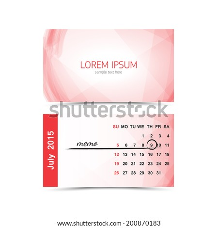 Business card calendar template 2015 july stock vector royalty free business card calendar template 2015 july cheaphphosting Gallery