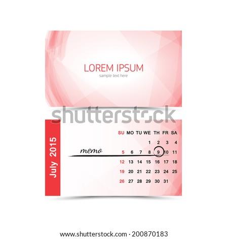 Business card calendar template 2015 july stock vector royalty free business card calendar template 2015 july wajeb Gallery