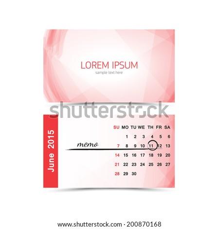 business card calendar template june