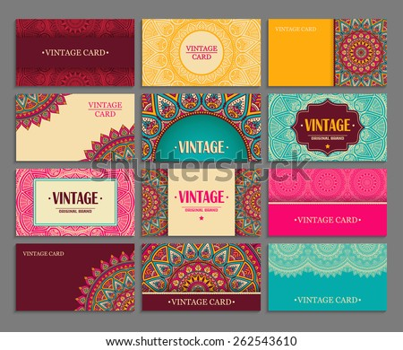 Business card collection. Vintage decorative elements. Hand drawn background. Islam, Arabic, Indian, ottoman motifs.  - stock vector