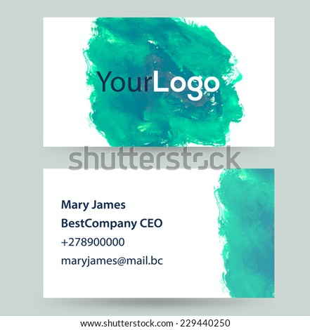 Business card creative watercolor splash great stock vector business card creative watercolor splash great for your design reheart Gallery