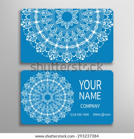 Business card, decorative ornamental invitation collection. Hand drawn Islam, Arabic, Indian pattern. Blue and white - stock vector