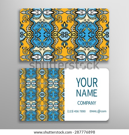Business card, decorative ornamental invitation collection. Hand drawn Islam, Arabic, Indian, lace pattern - stock vector