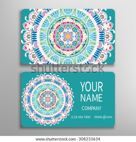 Business card, decorative round mandala ornament invitation collection. Hand drawn Arabic Indian lace pattern - stock vector