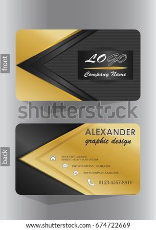 business card design elegant gold black stock vector 674722669