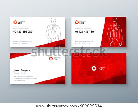 Business card design. Red Business card template for personal or corporate use. Layout with modern elements and abstract triangle background. Creative vector concept