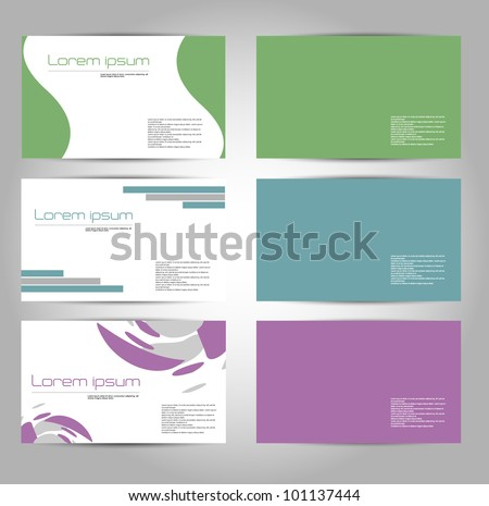 business card design set in soft colour theme - stock vector