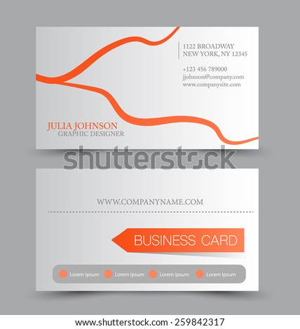 Business card design set template for company corporate style. Orange and silver color. Vector illustration.
