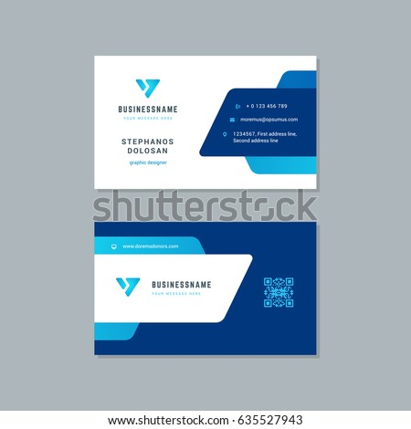 business card design trendy blue colors stock vector 635527943