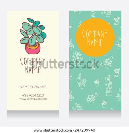 Business card design cute potted plants stock vector royalty free business card design with cute potted plants cartoon style vector illustration colourmoves