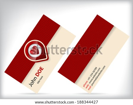 Business card design with heart symbol for doctors and cabinets