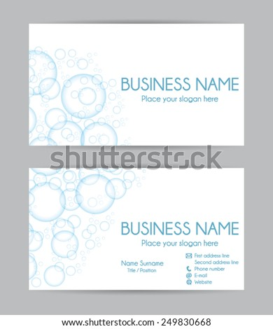 Business card. Flat design. Front and back. Vector set V. - stock vector