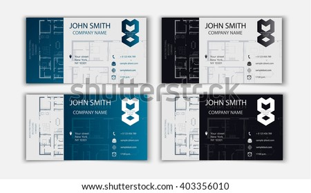 business card for an architect - stock vector