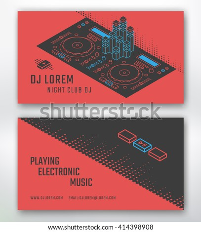 Business card for Dj or music studio, night club. Vector template. Dj control surface isometric illustration. - stock vector
