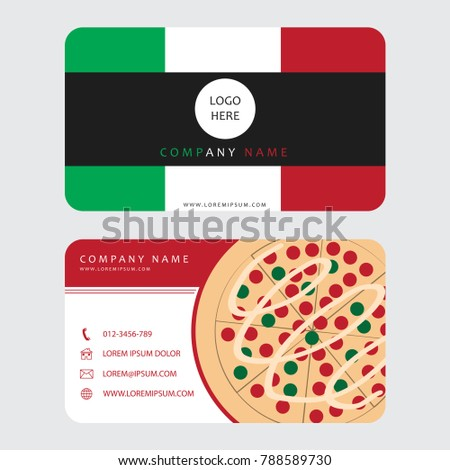 Business card pizza restaurant decorated italian stock photo photo business card for pizza restaurant decorated with italian flag color vector illustration colourmoves
