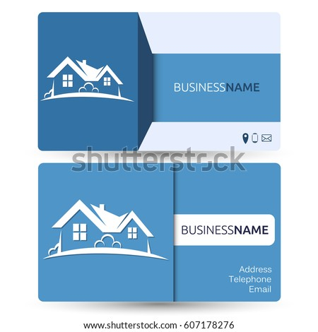 Business card real estate construction houses stock vector royalty business card for real estate and construction of houses reheart Images