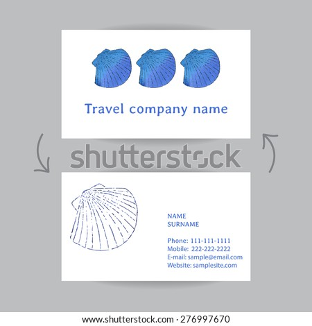 Business card travel company scallop shells stock vector 276997670 business card for travel company with scallop shells front and back side hand drawing colourmoves