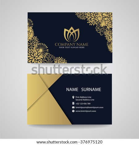 Business card - gold floral frame and lotus logo and gold paper on dark blue background - stock vector