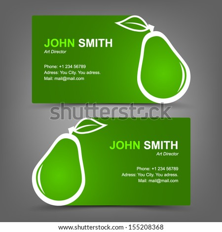 Business card green pear - stock vector