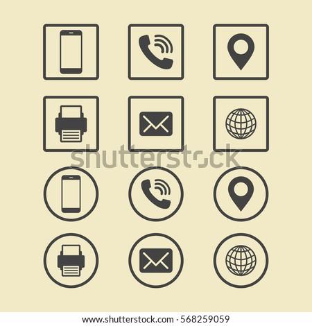 Business card icon set web icons stock photo photo vector business card icon set web icons reheart Choice Image