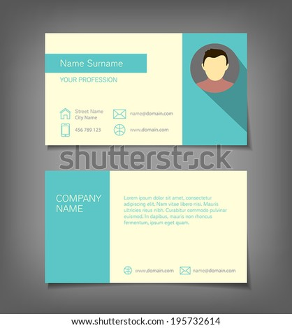 Business card in flat design style. - stock vector
