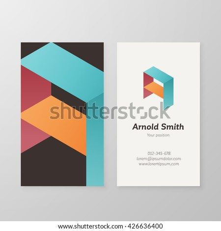 Business card isometric logo letter A vector template. Vector business card personal logo sign graphic design. Business card personal logo design. Business card letter A design. - stock vector