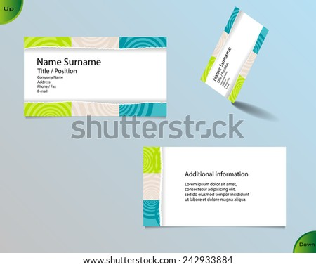 Business card layout with modern white color and pallet of trendy colors and ornaments made from rings with tear off central part and with important writing on the main board. - stock vector
