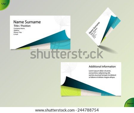 Business card layout with modern white color and pallet of trendy colors and ornaments made from rings with fold on bottom side and with important writing on the main board. - stock vector