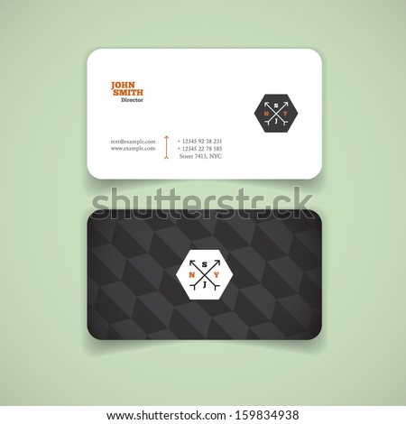 Business card, modern, black and white - stock vector
