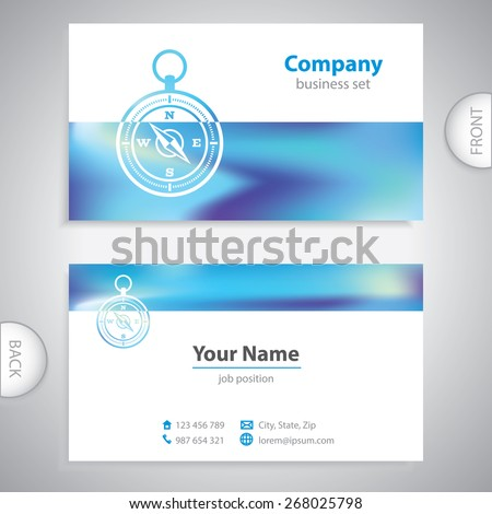 business card - Navigation compass - maritime symbols - company presentations - stock vector