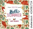 Business card or banner with Hand drawn lettering Hello summer. decorative background with leaves and flowers - stock vector