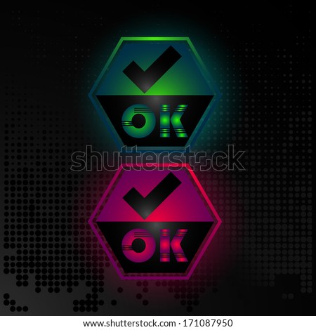 Business card or button OK, accepted icon, website element, business banner - stock vector
