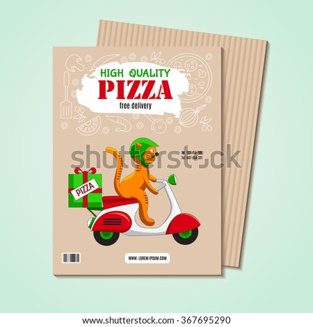 Business card or flyer with an image of ingredients for pizza and fun cat on the scooter as a pizza delivery vehicles. Fast-food business, pizza or other menu. Funny cartoon background for cafe. - stock vector