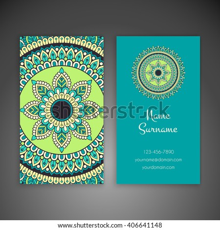 Business card or invitation. Vintage decorative elements. Oriental pattern, vector illustration. Islam, Arabic, Indian, turkish, pakistan, chinese, ottoman motifs