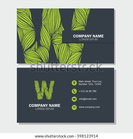 Business Card Visiting Card Template Letter Vector 434405233 – Editable Leaf Template
