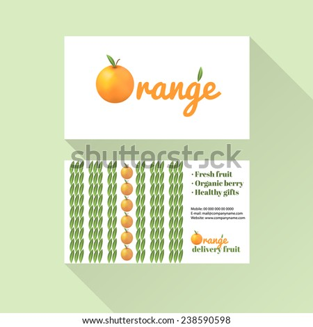 Business card orange with citrus fruit logo and leaves symbols