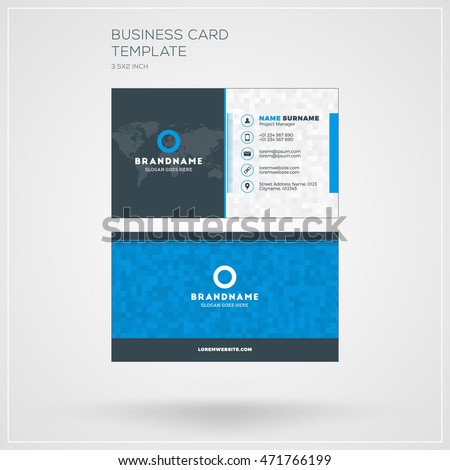 Business card print template personal visiting stock vector business card print template personal visiting card with company logo clean flat design reheart Images
