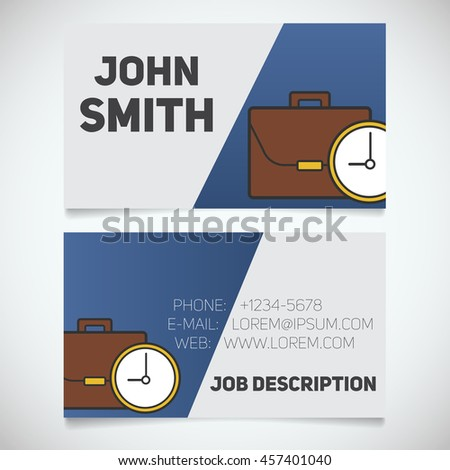 Business card print template with briefcase and clock logo. Easy edit. Manager. Businessman. Stationery design concept. Vector illustration - stock vector