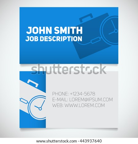 Business card print template with briefcase and clock logo. Easy edit. Manager. Work management. Stationery design concept. Vector illustration - stock vector