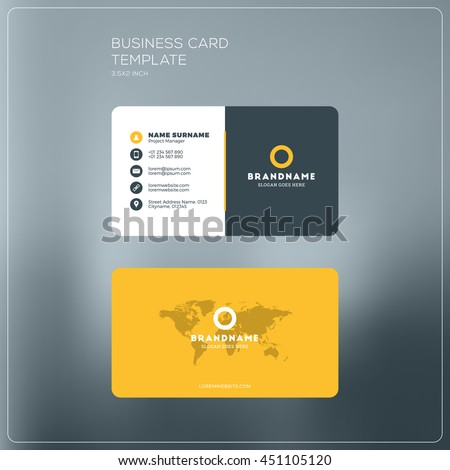 Business card print template company logo stock vector 451105120 business card print template with company logo black and yellow colors clean flat design flashek Images