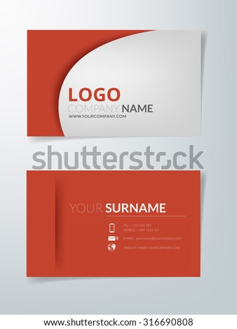 Business card red vector element for contact with white space for text sample - stock vector
