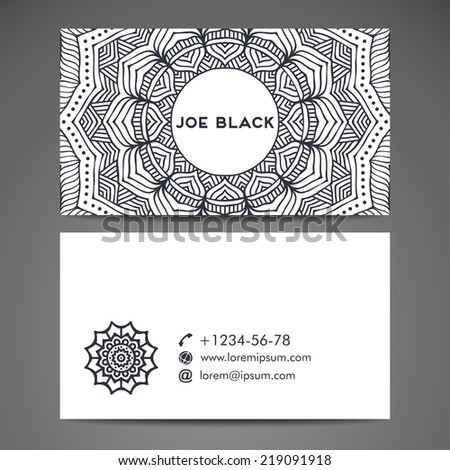 Business card. Round Ornament Pattern. Vintage decorative elements. Hand drawn background. Islam, Arabic, Indian, ottoman motifs. - stock vector