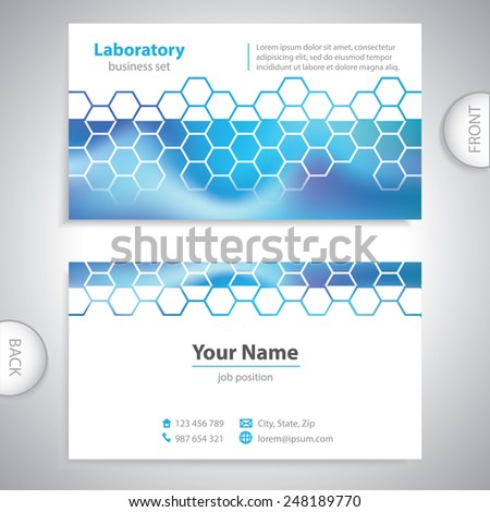 business card - science and research - chemical formulas - stock vector