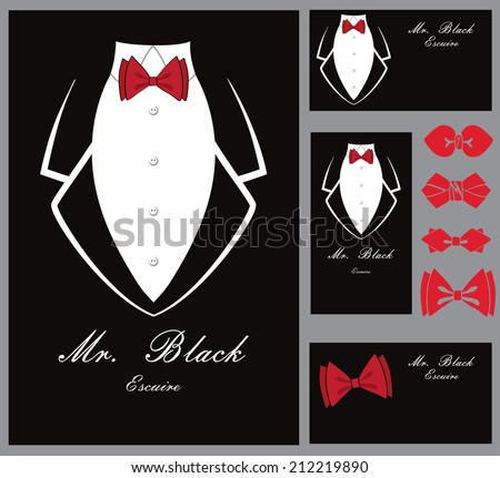 Business card set.Black tuxedo background with a red bow tie and copy space.Business card vertical,horizontal.Vintage, retro accessories.Flat vector - stock vector