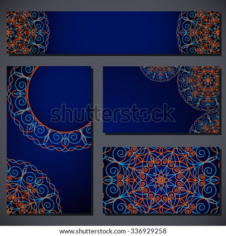 Business card set. Round pattern in oriental style.  - stock vector