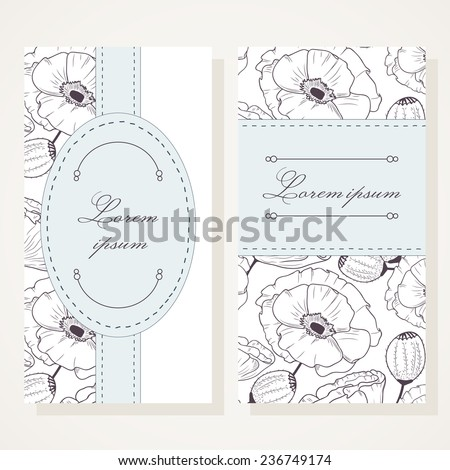 Business card set with poppies. Romantic design template - stock vector