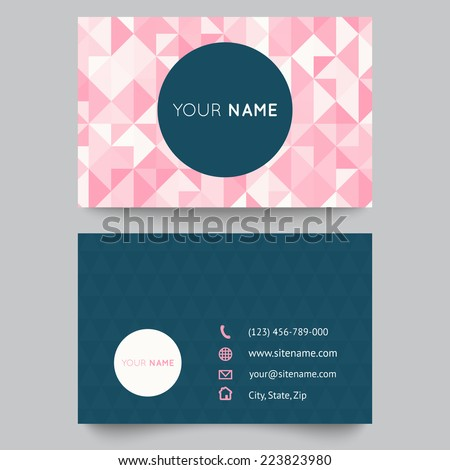Business card template, abstract crystal pink triangle background. Vector illustration for modern cute romantic design. Polygonal texture. With icons of contacts. - stock vector