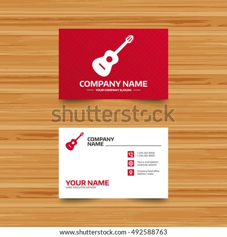 Business card template acoustic guitar sign stock vector 492588763 business card template acoustic guitar sign icon music symbol phone globe and colourmoves