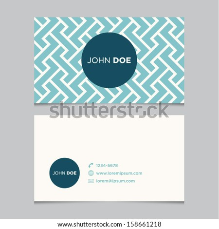 Business card template, blue pattern vector design editable - stock vector